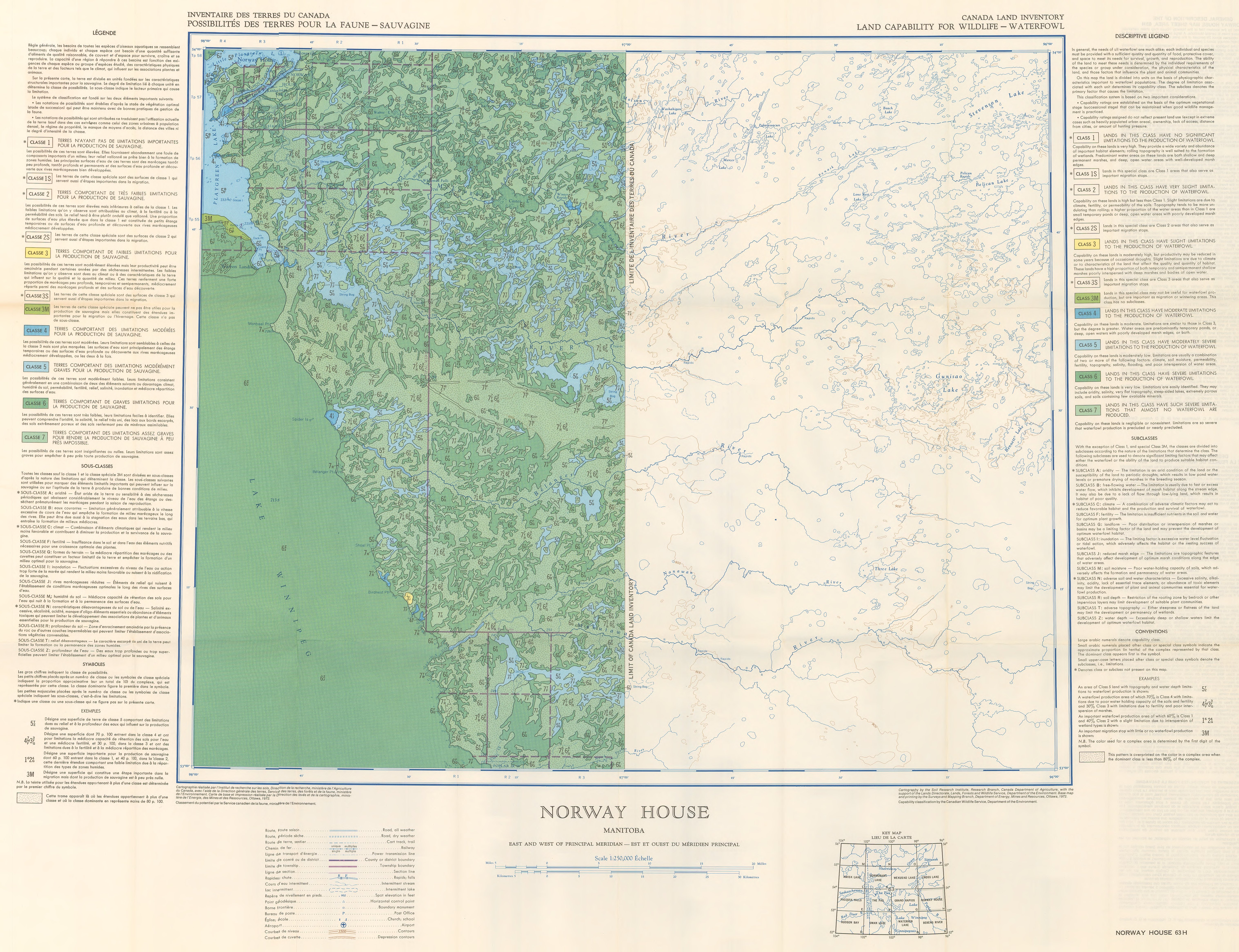 Land Capability For Wildlife Waterfowl - Norway house map