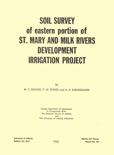 View the Soil Survey of the Eastern Portion of St Mary and Milk Rivers Development Irrigation Project (PDF Format)
