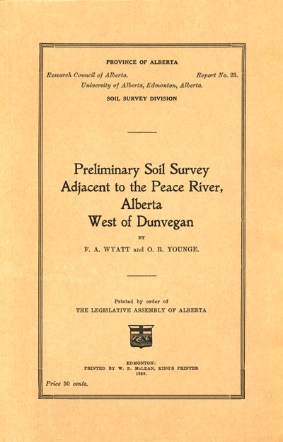 View the Preliminary Soil Survey Adjacent to the Peace River, Alberta West of Dunvegan (PDF Format)