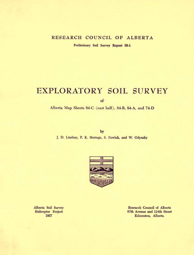 View the Exploratory Soil Survey of Alberta Map Sheets 84-C (East Half), 84-B, 84-A and 74-D (PDF Format)