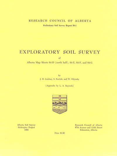View the Exploratory Soil Survey of Alberta Map Sheets 84-D (North Half), 84-E, 84-F and 84-G (PDF Format)