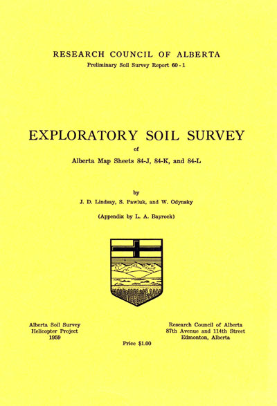 View the Exploratory Soil Survey of Alberta Map Sheets 84-J, 84-K, and 84-L (PDF Format)