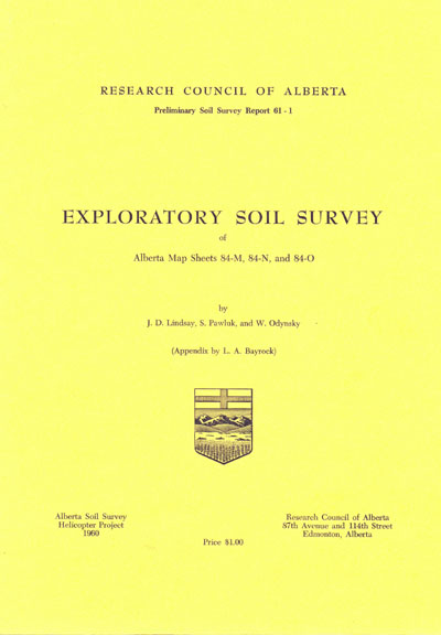 View the Exploratory Soil Survey of Alberta Map Sheets 84-M, 84-N, and 84-O (PDF Format)