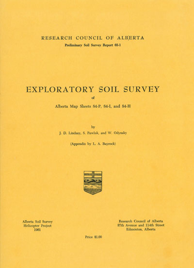 View the Exploratory Soil Survey of Alberta Map Sheets 84-P, 84-I and 84-H (PDF Format)