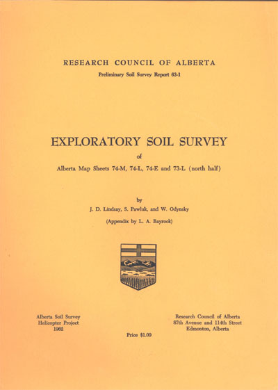 View the Exploratory Soil Survey of Alberta Map Sheets 74-M, 74-L, 74-E and 73-L (North Half) (PDF Format)