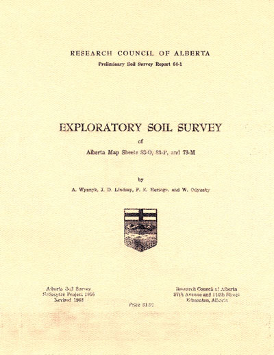 View the Exploratory Soil Survey of Alberta Map Sheets 83-0, 83-P, and 73-M (PDF Format)