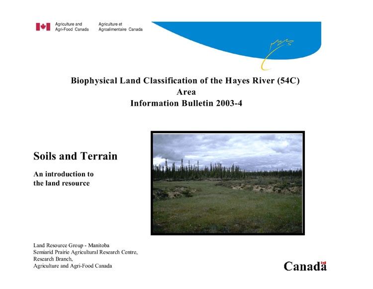 View the Biophysical Land Classification of the Hayes River (54C) Map Area (PDF Format)