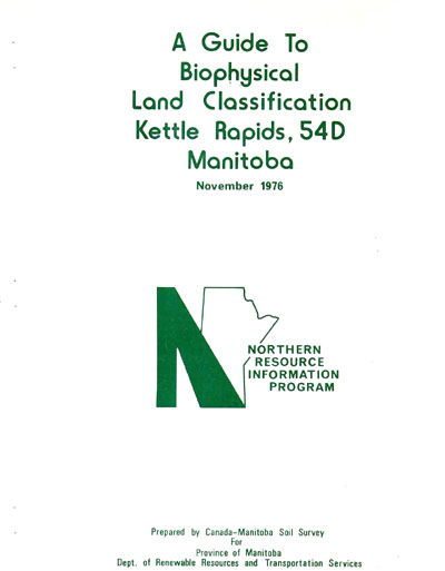 View the Biophysical Land Classification Kettle Rapids, 54D Manitoba (PDF Format)