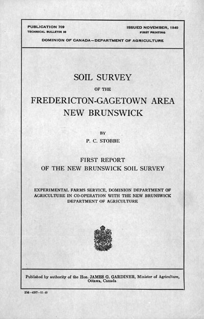 View the Soil Survey of the Fredericton - Gagetown Area (PDF Format)