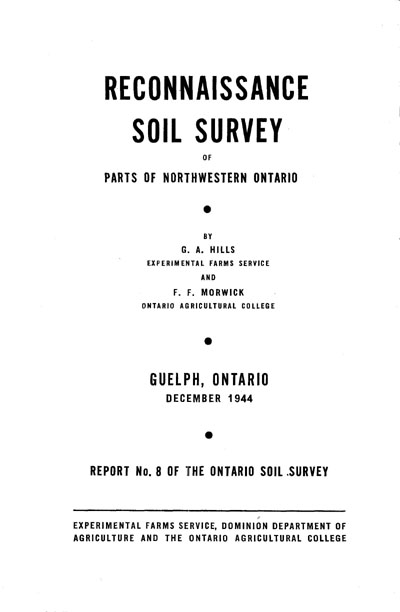 View the Reconnaissance Soil Survey of Parts of Northwestern Ontario (PDF Format)