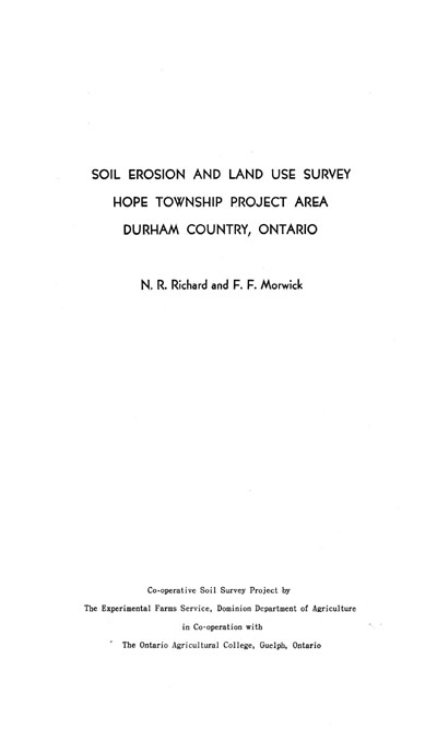 View the Soil Erosion and Land Use Survey - Hope Township Project Area - Durham County, Ontario (PDF Format)