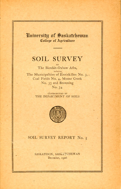 View the Soil Survey of the Bienfait-Oxbow Area, including the Municipalities of Enniskillen No.3, Coal Fields No.4, Moose Creek No.33 and Browning No.34 (PDF Format)